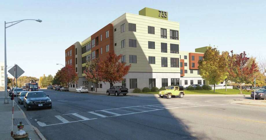 Rendering of a 70-unit apartment building at 733 Broadway in Albany, N.Y., proposed by Buffalo developer Norstar Development. 3t Architects of Albany is handling the design work. The project is on the Albany planning board?s oct. 18th agenda for preliminary presentation. Site plan approval for the project and demolition approval for a two-story building now on the site are being sought. The renderings are from 3t Architects. Photo: Laurab