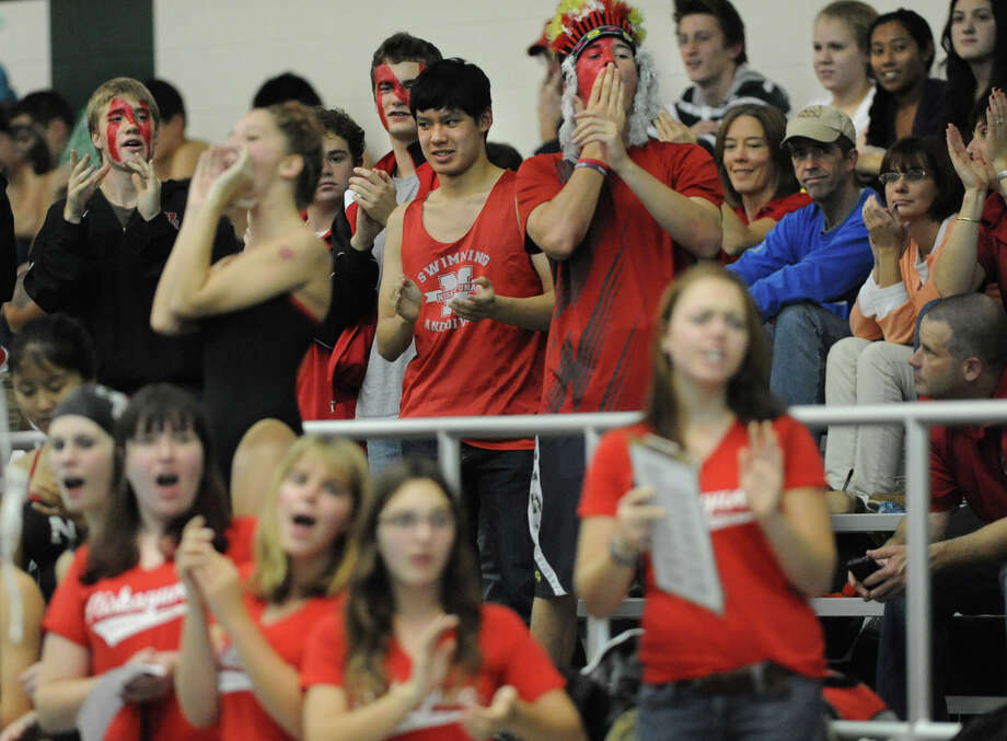 Niskayuna fans cheer in the stands as Niskayuna faces Shenendehowa in a swimming and diving competition Wednesday, Oct. 10, 2012 in Clifton Park, N.Y. (Lori Van Buren / Times Union) Photo: Lori Van Buren