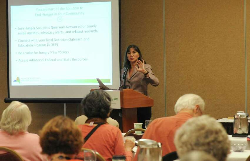 New York Senior Action Council executive director Maria Alvarez speaks during a talk on elder economic security in New York State during the New York Senior Action Council's 4oth annual convention in Saratoga Springs, NY Wednesday Oct. 10, 2012. (Michael P. Farrell/Times Union)