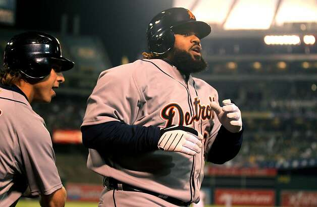 Detroit Tigers Prince Fielder returns to the dugout after a solo home run in the 4th inning of their ALDS baseball game against the Oakland Athletics   Wednesday October 10, 2012 in Oakland California Photo: Lance Iversen, The Chronicle