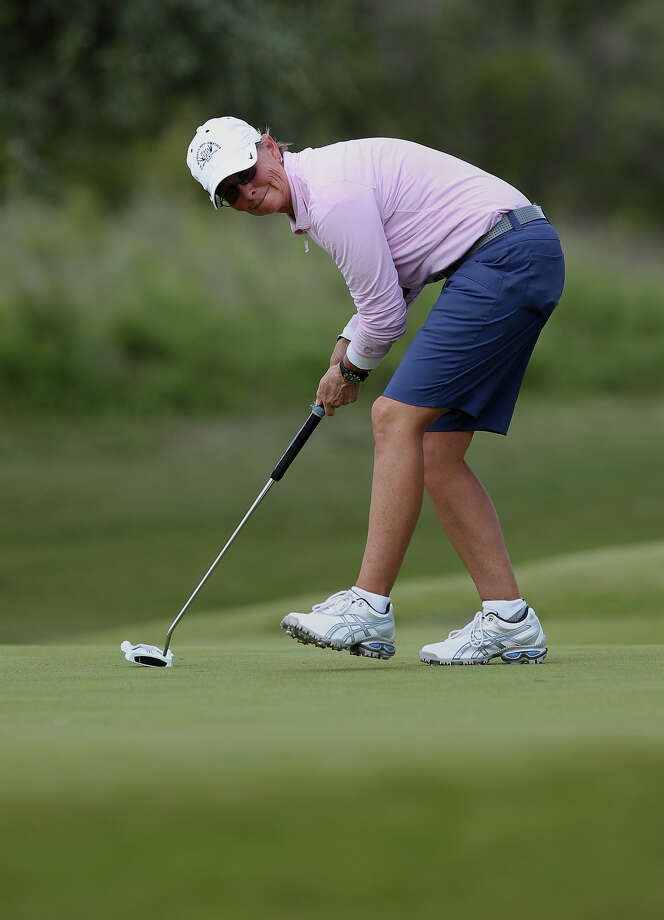 Liz Waynick of Scottsdale, Arizona reacts to a putt on No. 5 during her match against Stacy Dennis of Huntsville, Texas at the U.S. Women's Mid-Amateur Championships quarterfinals at Briggs Ranch Golf Club on Wednesday, Oct. 10, 2012. Photo: Kin Man Hui, Express-News / ©2012 San Antonio Express-News