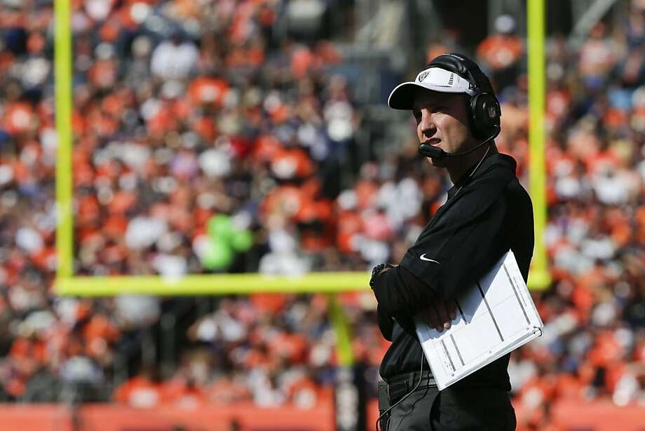 Oakland Raiders coach Dennis Allen watches from the sidelines during the second quarter of an NFL football game against the Denver Broncos, Sunday, Sept. 30, 2012, in Denver. (AP Photo/Joe Mahoney) Photo: Joe Mahoney, Associated Press