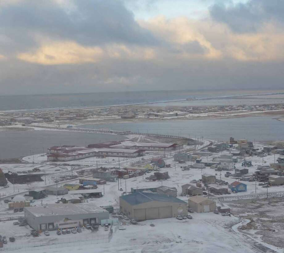 An aerial view of Barrow, Alaska. With a relatively small footprint of about 22 square miles, the city is home to just over 4,000 residents. (Photo: Jennifer A. Dlouhy / The Houston Chronicle) (Jennifer A. Dlouhy)