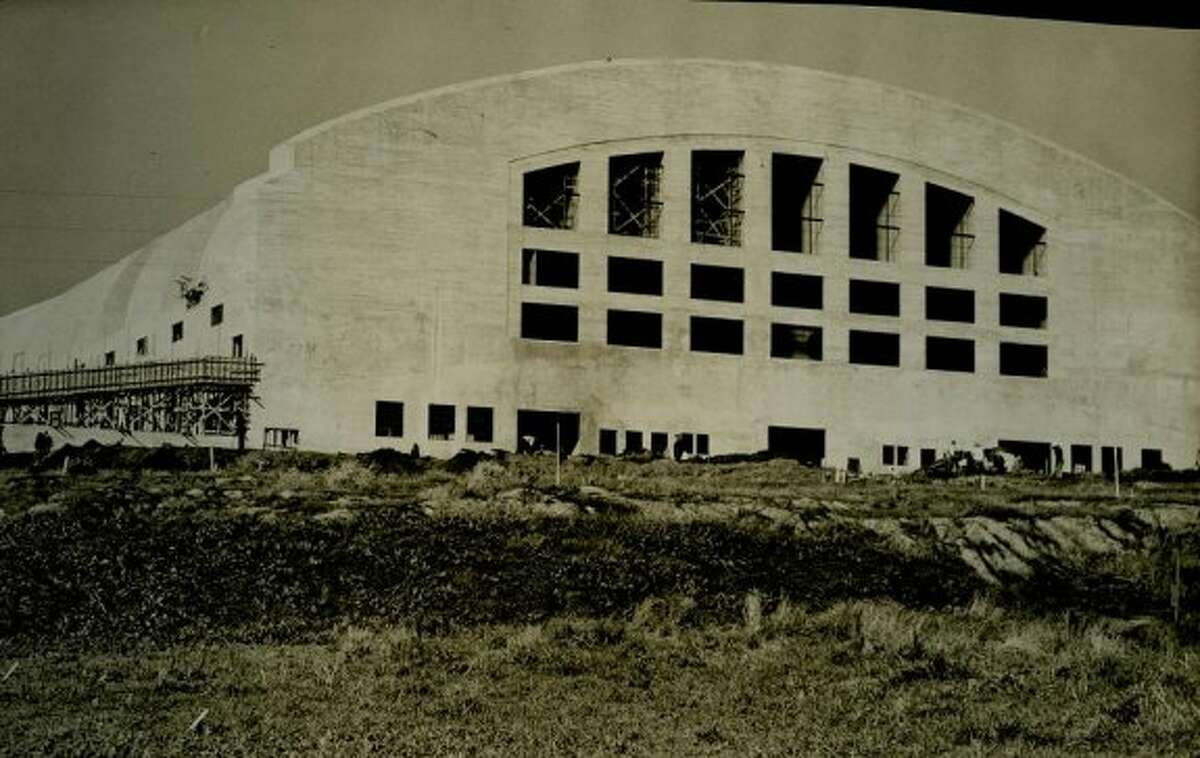 A construction photo of the Cow Palace, probably taken some time in 1940. The venue was completed in 1941. (Chronicle file)
