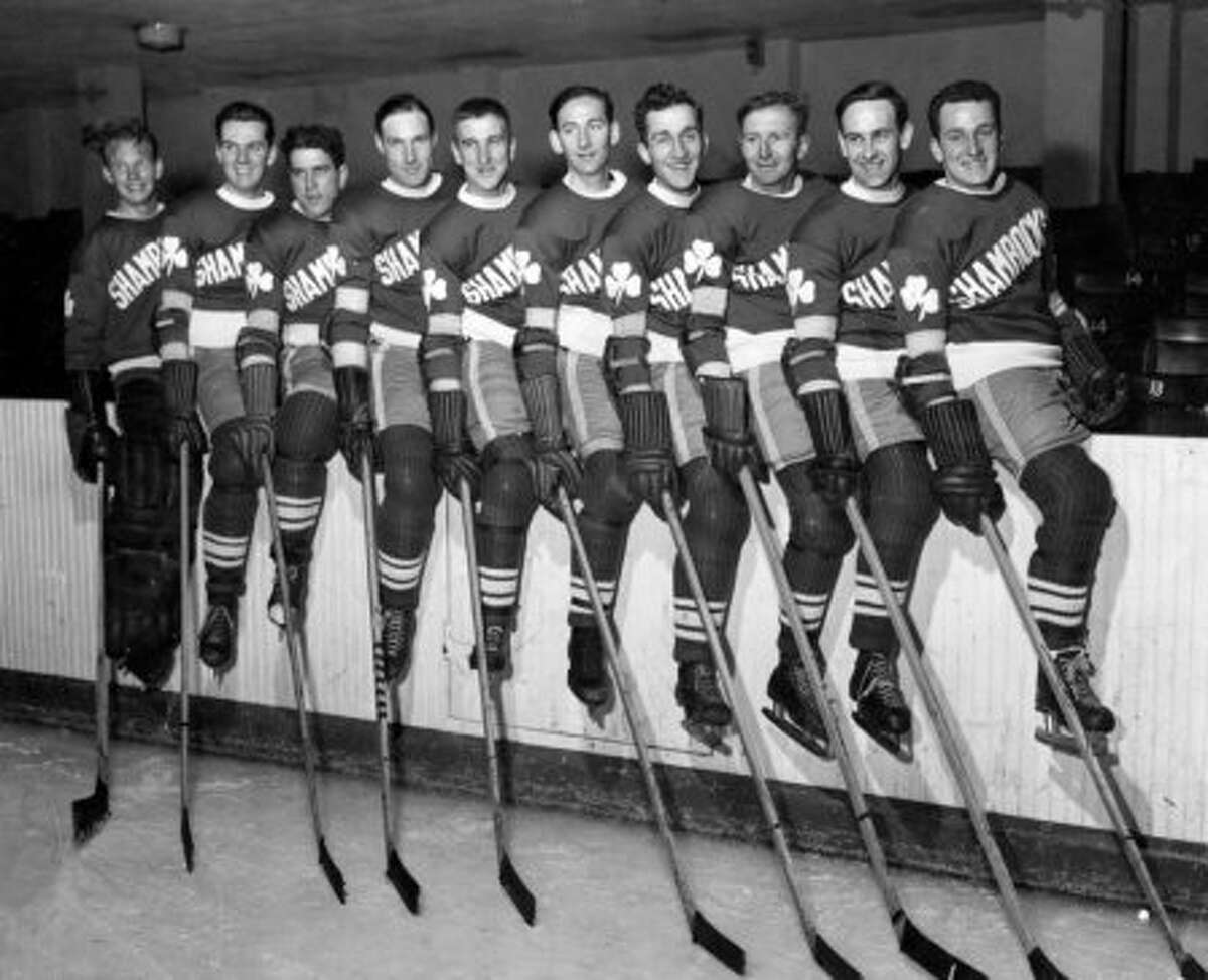 Your 1944 San Francisco Shamrocks: L-R : Bill Gribble, Jack Beauchamp, Herb Sweder, Gene Mott, Robert Maker, George Collins, Larry Silvestri, Frank Nichol, Buford Weber, Alan Langlois. (Courtesy Larry Silvestri.)