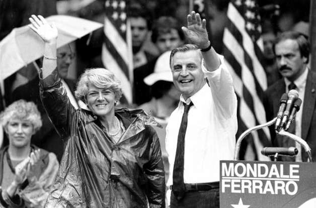 Democratic presidential candidate Walter Mondale and his running mate, Geraldine Ferraro, wave as they leave an afternoon rally in Portland, Ore., Wednesday, Sept. 5, 1984.  (AP Photo/Jack Smith)  HOUCHRON CAPTION (01/04/2004):  Walter Mondale, right, with running mate Geraldine Ferraro in 1984.  HOUCHRON CAPTION (07/12/2004):  Democratic presidential candidate Walter F. Mondale announced in 1984 he'd chosen U.S. Rep. Geraldine A. Ferraro of New York to be his running mate. (AP)