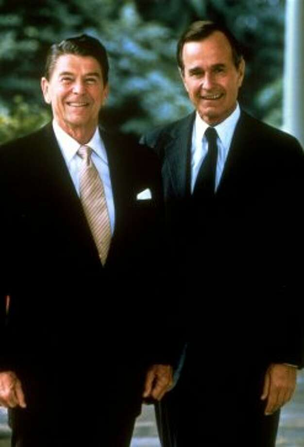 ** FILE ** President Ronald Reagan and Vice President George Bush are pictured in this official portrait released by the White House, July, 1981. Reagan died Saturday, June 5, 2004 at his home in California, according to a friend, who spoke on condition of anonymity. He was 93. (AP Photo/White House) (AP)