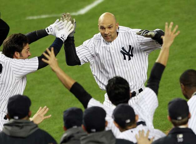 NEW YORK, NY - OCTOBER 10:  Raul Ibanez #27 of the New York Yankees reacts after hitting a walk off home run in the bottom of the twelfth inning to defeat the Baltimore Orioles  in Game Three of the American League Division Series at Yankee Stadium on October 10, 2012 in the Bronx borough of New York City. Photo: Alex Trautwig, Getty Images / 2012 Getty Images