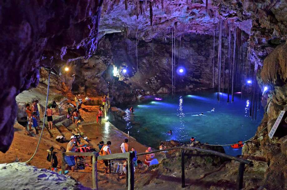X'Keke'n cenote in Dzitnup, outside Valladolid, Yucatan, Mexico features underground pools of cool blue water. (Christopher Reynolds/Los Angeles Times/MCT) Photo: Christopher Reynolds, McClatchy-Tribune News Service / Los Angeles Times