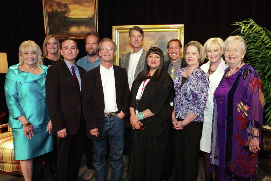 OTS/HEIDBRINK - Chairwomen Sherry McNeil, from left, Lauri Kaplan, authors Chris Bohjalian, Nick van Frankenhuyzen, Joe Nick Patoski, H.W. Brands, Sandra Cisneros, Jack Bishop, co chairwomen Mary Brook and emcee Coleen Grissom gather at the Book & Author Luncheon at the Marriott River Center Hotel on 10/8/2012. This is #9 of 9 photos. There is 1 woman's name missing. She is one of the chairwomen. She is 3rd from the right, standing next to Sandra Cisnerso. All others are correct. photo by leland a. outz Photo: LELAND A. OUTZ, SPECIAL TO THE EXPRESS-NEWS / SAN ANTONIO EXPRESS-NEWS
