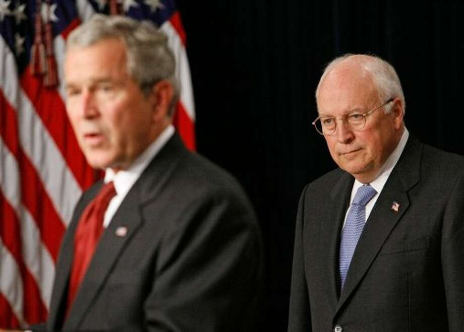 WASHINGTON - SEPTEMBER 10: U.S. Vice President Dick Cheney (R) listens as U.S. President George W. Bush speaks during a swearing-in ceremony for Jim Nussle as Director of the Office of Management and Budget September 10, 2007 in Washington, DC. According to his office, former Vice President Dick Cheney received a heart transplant and is now recovering in the intensive care unit of Inova Fairfax Hospital in Falls Church,Virginia. (Photo by Mark Wilson/Getty Images) (Getty Images)
