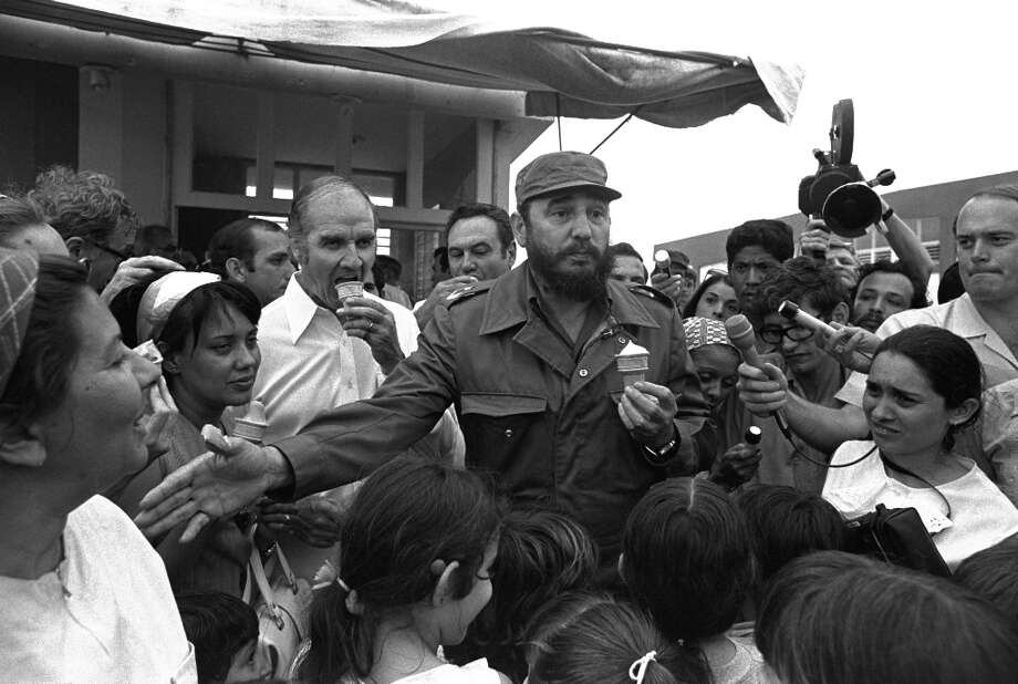 Ice cream is decidedly less patriotic, however, when you are eating it with Fidel Castro in Cuba. George McGovern doesn't seem to mind though. (AP) Photo: CHARLES TASNADI, ASSOCIATED PRESS / AP1975