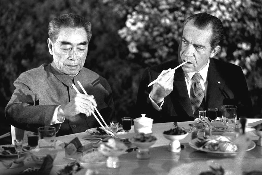 But he gets bonus points for successfully using chopsticks. (AP) Photo: ASSOCIATED PRESS / AP1972