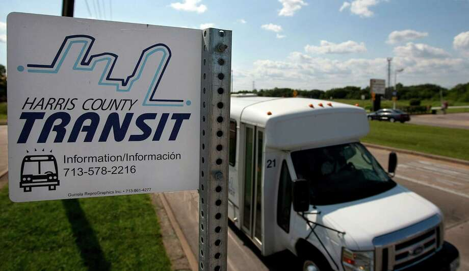 This file photo shows a Harris County Transit bus driving past a bus stop in Pasadena. The service ended in 2010.  ( Johnny Hanson / Houston Chronicle ) Photo: Johnny Hanson / © 2012  Houston Chronicle