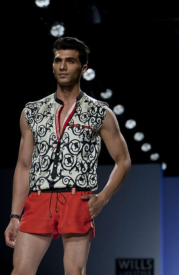 Who likes short-shorts?Indian designer Rajdeep Ranawat apparently. Men's pants haven't been this high on the thigh since the '80s. (India Fashion Week in New Delhi.) Photo: Tsering Topgyal, Associated Press