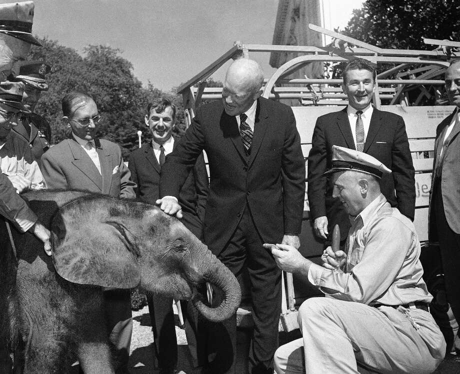 Very rarely will they ask you to feed an elephant, but Ike was always prepared for the unexpected. (AP) Photo: Byron Rollins, ASSOCIATED PRESS / AP1959