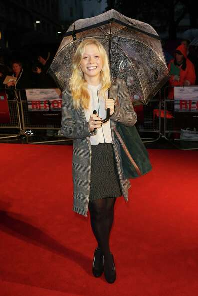 Actress Naomi Battrick  attends the premiere of 'Blood' during the 56th BFI London Film Festiv