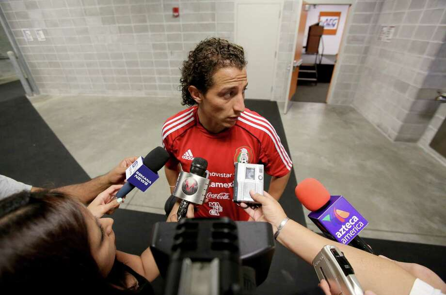 10/11/12 : Andres Guardado of Mexico's National team speaks to the media after practice at BBVA Compass Stadium in Houston, Texas before playing for World Cup qualifier against Guyana Friday night. Photo: Thomas B. Shea, For The Chronicle / © 2012 Thomas B. Shea