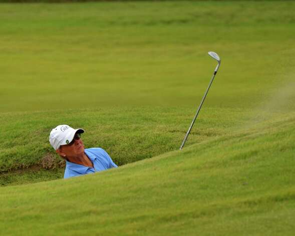 Liz Waynick pitches out of a greenside bunker on No. 9 during her 6 and 5 loss to Meghan Stasi in the finals at the U.S. Women's Mid-Amateur Championship on Thursday, Oct. 11, 2012, at Briggs Ranch. Photo: LeAnna Kosub/San Antonio Express-News