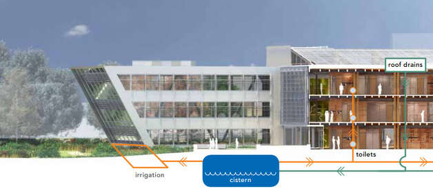 The rainwater reuse system in Federal Center South will capture water from the roof and store it in a 25,000 gallon cistern to be used for toilets, irrigation, a rooftop cooling tower and water features in the atrium. Photo: U.S. General Services Administration