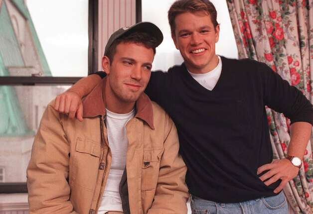 ADVANCE  FOR IMMEDIATE USE--Actors Ben Affleck, 25, left, and Matt Damon, 27,  pose during an interview in New York Nov. 22, 1997.  The two friends from high school days in Cambridge, Mass. wrote and star in the movie, 'Good Will Hunting.' (AP Photo/Yukio Gion) Photo: YUKIO GION