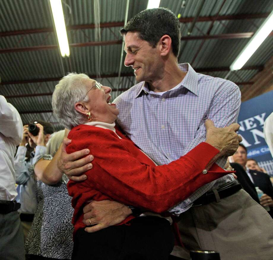Rep. Paul Ryan's not too shy to embrace a supporter either, as he shows here in High Point, N.C. Photo: Mary Altaffer, Ap / AP