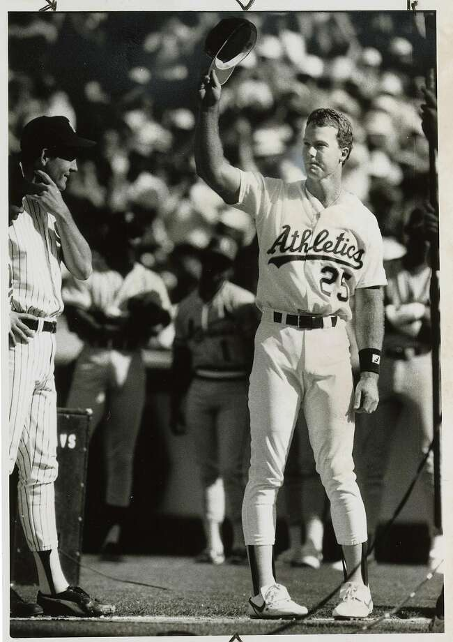 allstar09_ph_Mac.JPG    July 14, 1987 -  Mark McGuire takes off his hat to the crowd after being introduced during 1987 All-Star game. Michael Maloney/ San Francisco Chronicle File photo 1987 Ran on: 07-09-2007 The air was filled with anticipation  --  and plenty of wind  --  as balloons were released during pregame ceremonies at Candlestick in 1984. Photo: Michael Maloney, San Francisco Chronicle File Pho