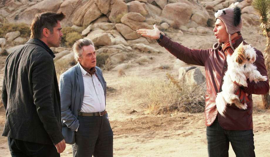 """Colin Farrell (left, as Marty), Sam Rockwell (right, as Billy), and Christopher Walken (as Hans) star in """"Seven Psychopaths."""""""