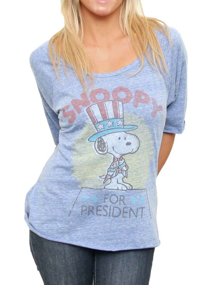 Snoopy for President - $38 at junkfoodclothing.com. A vote for Chuck or his beagle is a vote for one of the most beloved comic strips in America. So don't be a blockhead.  Photo: Handout
