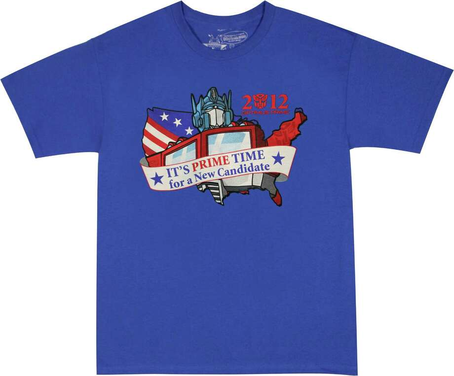 Optimus Prime for President - $11.99 at 80stees.com. The original candidate for change, as in change from a truck into a robot and back again. (Handout) Photo: Handout