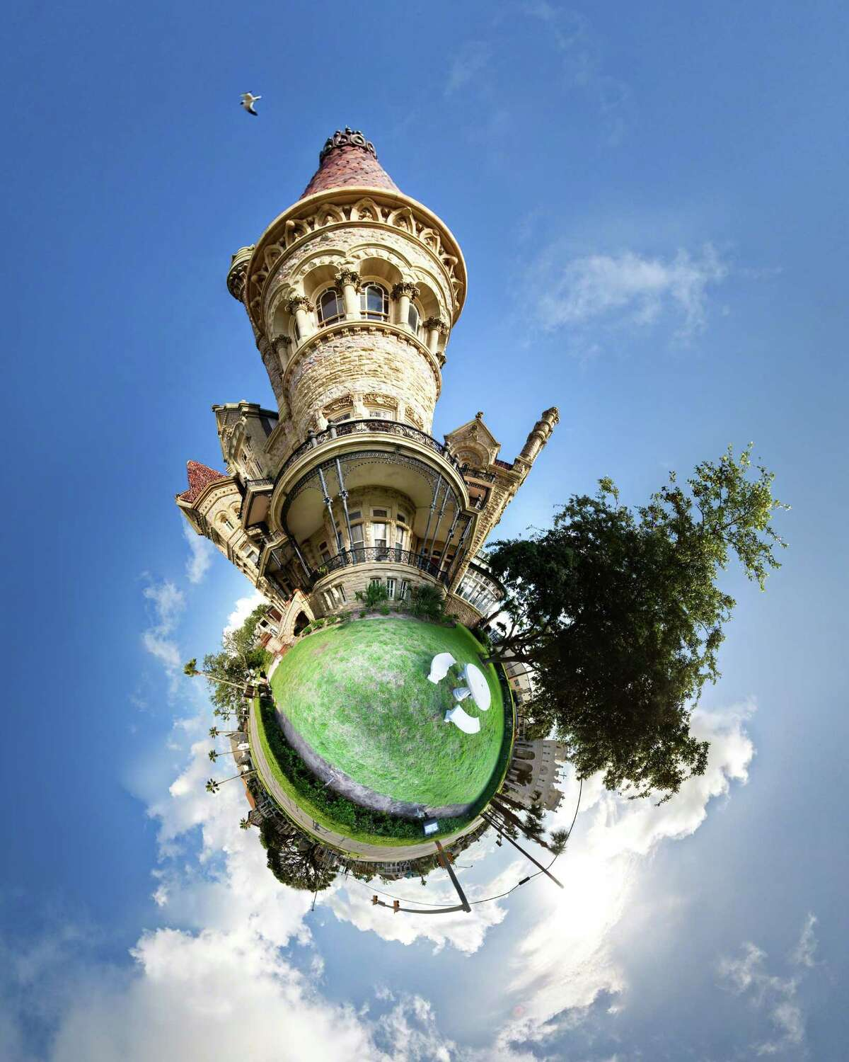 Syd Moen's spherical panorama puts the Bishop's Palace, a grand 19th-century home in Galveston, on its own tiny planet. Her creations, 360-degree sets of photos melded together, will join the work of 300 other artists at Bayou City Art Festival.