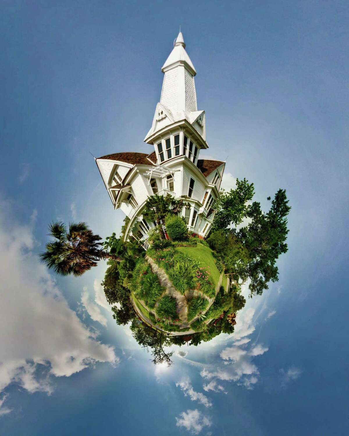 """This """"Little Planet"""" by artist Syd Moen is based on Moen's panoramic photos of a house in Houston's Heights district."""