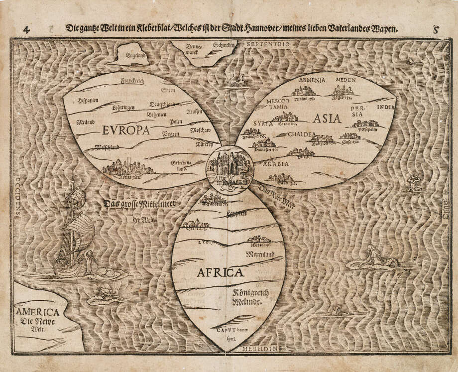 """Die gantze Welt in eine Kleberblat,"" printed in Magdeburg, Germany, in 1581, by theologian Heinrich Bünting. This cloverleaf map with Jerusalem at its center is from Bünting's Itinerarium, a version of the Bible written as an illustrated travelogue, and is evidence that the medieval concept of the world lingered for many years. Photo: Royal BC Museum"