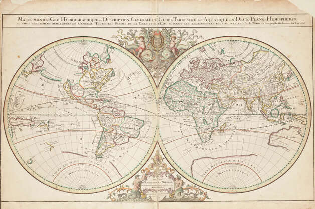 "Sanson/Jaillot World Map, 1696.  This map was adapted and redrawn from  the original work of the French cartographer Nicholas Sanson and printed  in 1696. The map depicts ""all parts of the land and waters, according  to the latest information"" in the era of France's colonization of North  America. It shows ""Canada or New France"" sitting above Florida and  Mexico. Missing is most of Western Canada, which was largely uncharted  at the time. The map bears the coat of arms of the Dauphin, heir to the  French throne. Photo: Royal BC Museum"