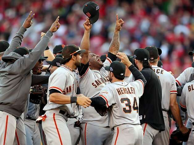 CINCINNATI, OH - OCTOBER 11:  Pablo Sandoval #48 (center) of the San Francisco Giants celebrates following the last out og Game Five of the National League Division Series against the Cincinnati Reds at Great American Ball Park on October 11, 2012 in Cincinnati, Ohio.The Giants won 6-4.  (Photo by Andy Lyons/Getty Images) Photo: Andy Lyons, Getty Images