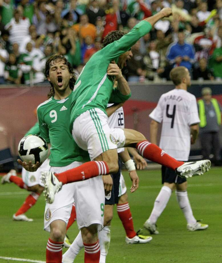 No. 1U.S. 2, Mexico 2Feb. 6, 2008, Reliant Stadium.Almost  five years after they met in the first international soccer match at  Reliant Stadium, Mexico and the U.S. played a lively affair for a 2-2  draw. Oguchi Onyewu and forward Jozy Altidore scored for the U.S.  Defender Jonny Magallon answered with Mexico's goals before a crowd of  70,103, the second-largest to ever watch a soccer match in Houston.. ( Brett Coomer / Chronicle ) Photo: Brett Coomer, Houston Chronicle / Houston Chronicle