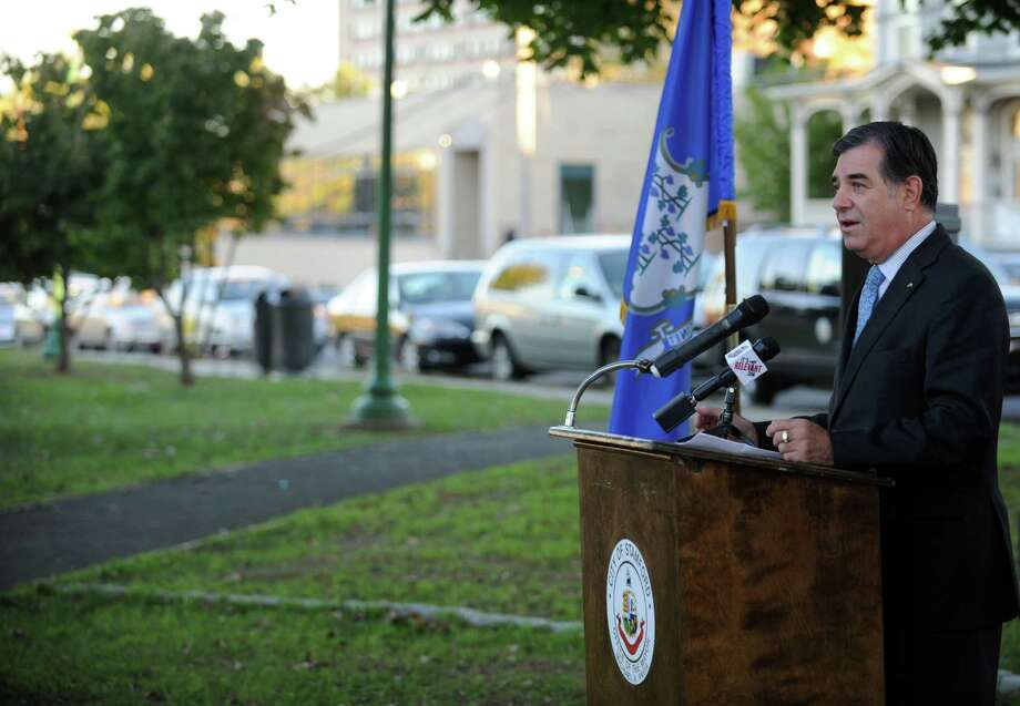 Stamford Mayor Michael Pavia speaks during a rededication and ribbon-cutting ceremony at Jackie Robinson Park on Thursday, October 11, 2012. Photo: Lindsay Niegelberg / Stamford Advocate