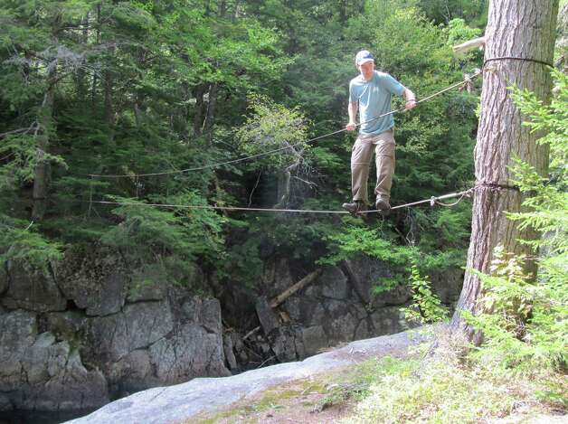 Photo by Gillian Scott. Testing out the cables over the Sacandaga River. Thankfully, they weren't needed. Photo: Picasa