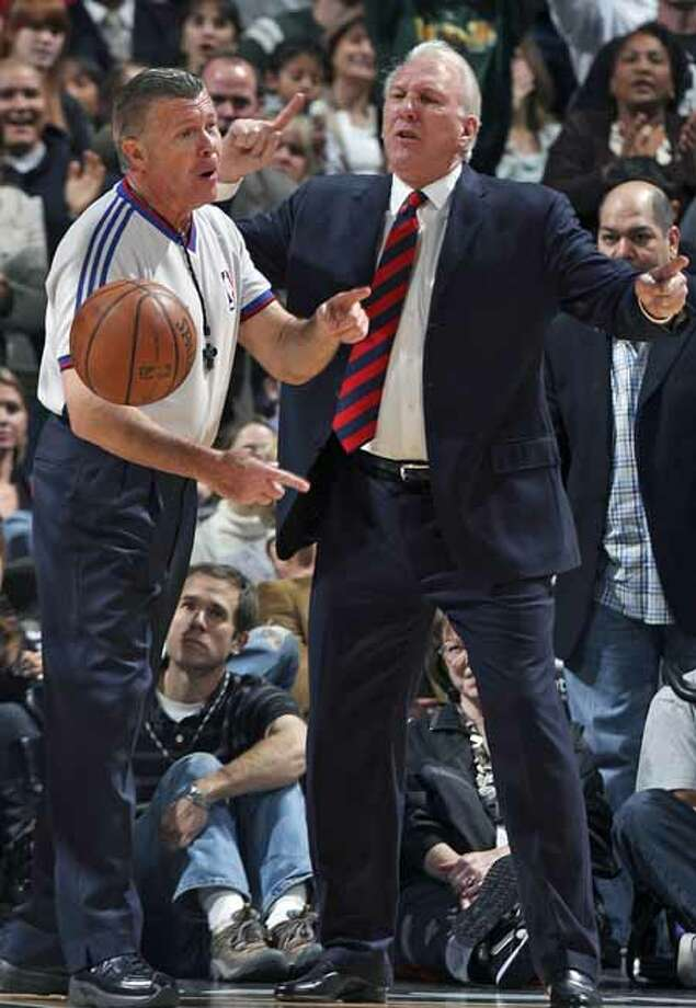 SPORTS    Spurs coach Greg Popovich gets tossed from the game against the Raptors in the fourth quarter Friday at the AT&T Center.  Referee Bob Delaney had heard enough complaining after a close call on Tim Duncan. San Antonio Spurs versus the Toronto Raptors at the AT&T Center in San Antonio, December 28, 2007.      Tom Reel/Staff   December 28, 2007. Photo: TOM REEL, SAN ANTONIO EXPRESS-NEWS / SAN ANTONIO EXPRESS-NEWS