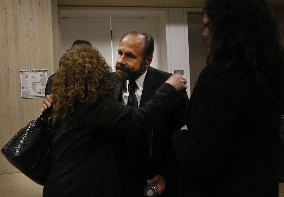 Rene Morales and Assemblyman Jerry Hill after speaking a the Public Utilities Commission meeting. Photo: Lea Suzuki, The Chronicle