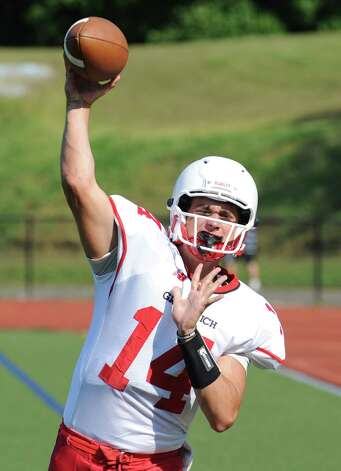 Greenwich High School quarterback Liam O'Neil will return to action Friday at Ludlowe. O'Neil missed the first three games of the season with a broken finger. Photo: Bob Luckey / Greenwich Time