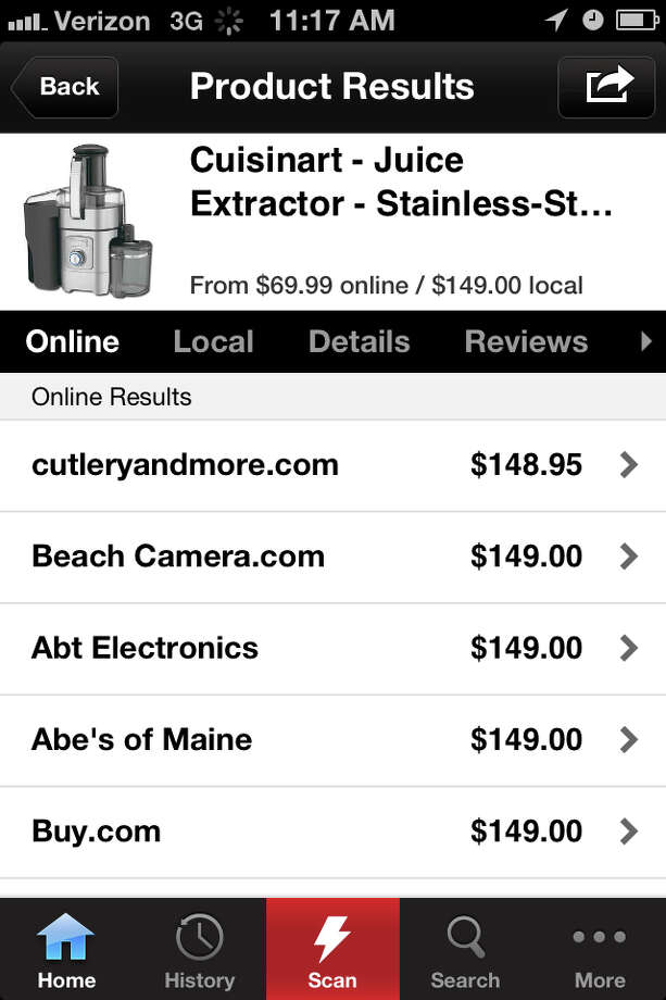 This screenshot shows the Redlaser mobile application owned by eBay Inc., the online marketplace. Price-comparison apps, make it easier to know of an item's lowest price and have since become a bigger threat to retailers who don't want customers using their stores as showrooms. (AP Photo/Redlaser) Photo: Red Laser