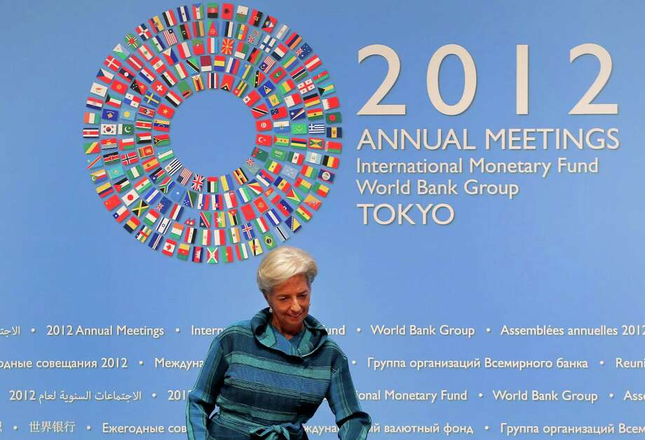 International Monetary Fund (IFM) chief Christine Lagarde arrives for a news conference at the IMF and World Bank's annual general assembly in Tokyo, Thursday, Oct. 11, 2012. (AP Photo/Itsuo Inouye) Photo: Itsuo Inouye