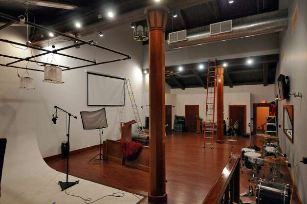 A soundstage now occupies the space that was formerly an altar in Overit Media's new home on New Scotland Avenue, in what used to be the sanctuary of the former St. Teresa of Avila church on Monday Oct. 8, 2012 in Albany, NY.  (Philip Kamrass /  Times Union) Photo: Philip Kamrass / 00019569A