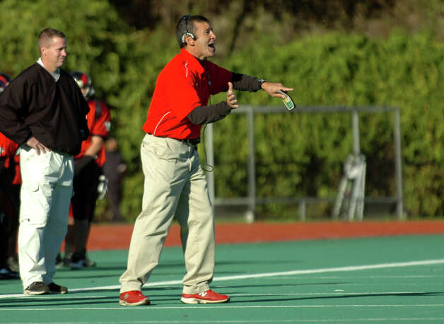Central Head Coach Dave Cadelina, during boys football action against Bassick in Bridgeport, Conn. on Thursday October 11, 2012. Photo: Christian Abraham / Connecticut Post