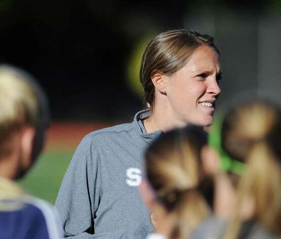 Staples girls soccer coach Heather Driscoll during the girls high school soccer match between Greenwich High School and Staples High School at Greenwich, Thursday, Oct. 11, 2012. Photo: Bob Luckey / Greenwich Time