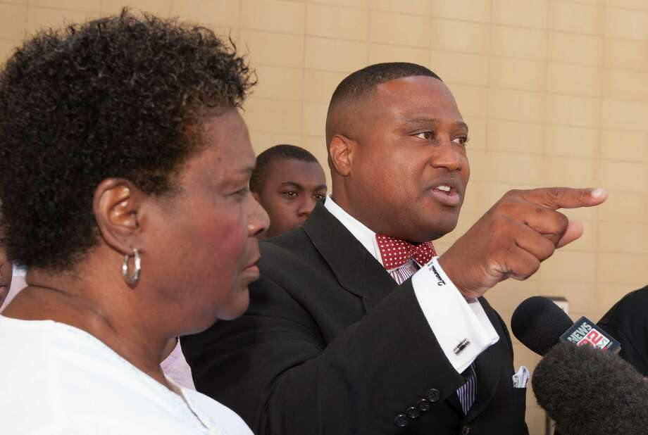 Community activist Quanell X and Anna Patterson, the boy's great-grandmother and legal guardian, said at a news conference Thursday at the Harris County Juvenile Detention Center that Cy-Fair ISD officials overreacted to Wednesday's incident. Photo: J. Patric Schneider / © 2012 Houston Chronicle