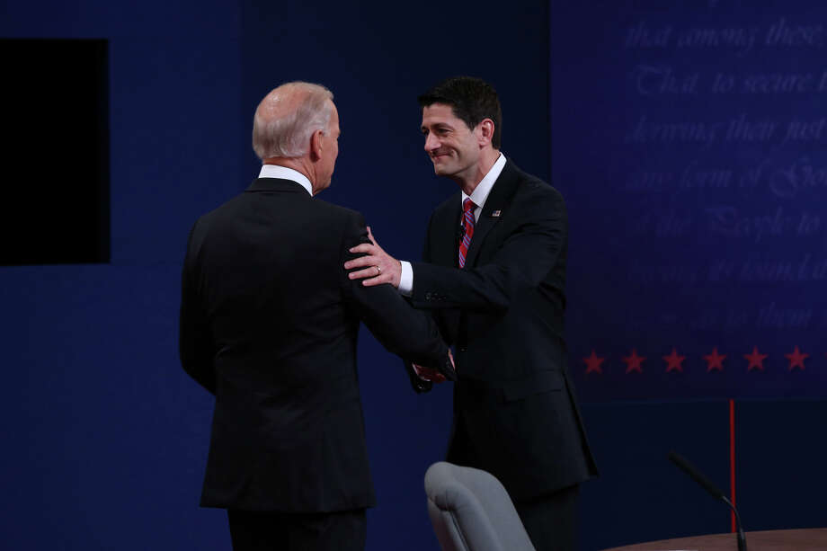 DANVILLE, KY - OCTOBER 11:  U.S. Vice President Joe Biden (L) shakes hands with Republican vice presidential candidate U.S. Rep. Paul Ryan (R-WI) (R) during the vice presidential debate at Centre College October 11, 2012 in Danville, Kentucky.  This is the second of four debates during the presidential election season and the only debate between the vice presidential candidates before the closely-contested election November 6.  (Photo by Justin Sullivan/Getty Images) Photo: Justin Sullivan, Getty Images / 2012 Getty Images