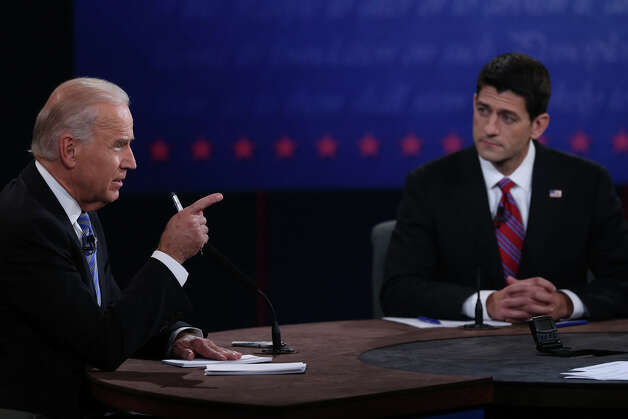 DANVILLE, KY - OCTOBER 11:  U.S. Vice President Joe Biden (L) speaks as Republican vice presidential candidate U.S. Rep. Paul Ryan (R-WI) (R) listens in the vice presidential debate at Centre College October 11, 2012 in Danville, Kentucky.  This is the second of four debates during the presidential election season and the only debate between the vice presidential candidates before the closely-contested election November 6.  (Photo by Justin Sullivan/Getty Images) Photo: Justin Sullivan, Getty Images / 2012 Getty Images