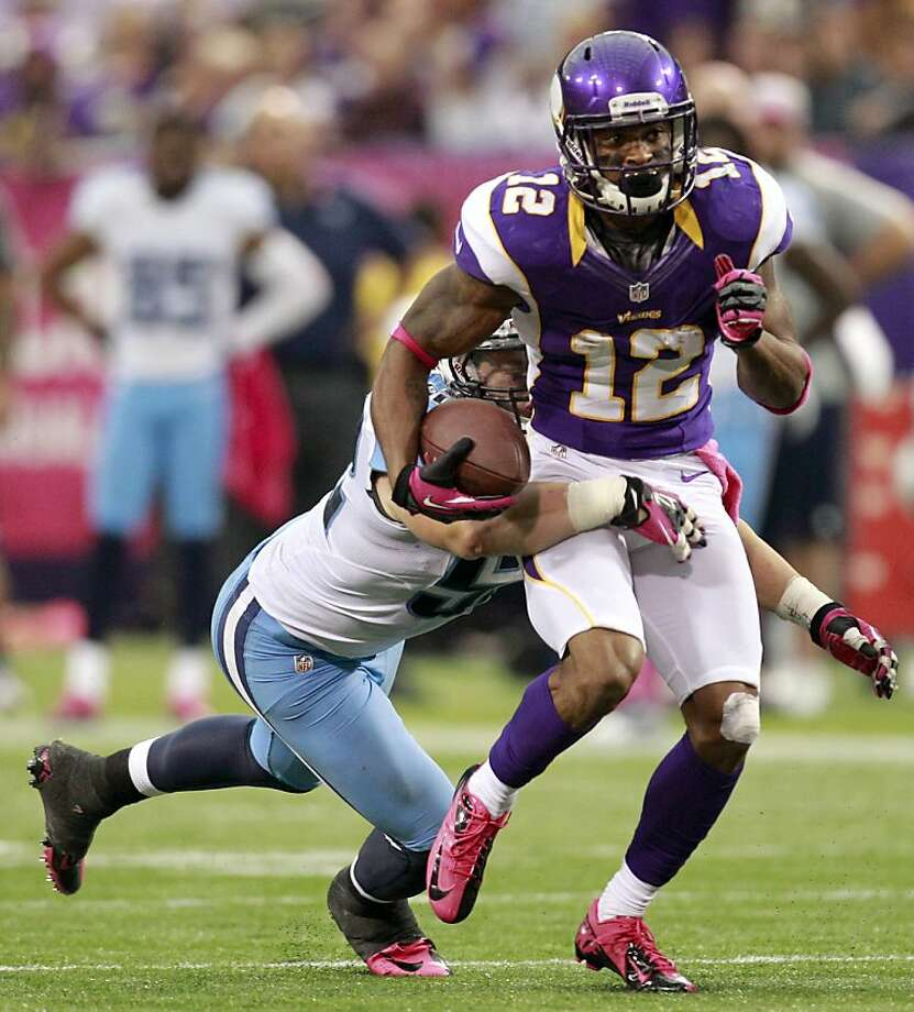 Percy Harvin usually catches the ball at or behind the line of scrimmage. Photo: Genevieve Ross, Associated Press